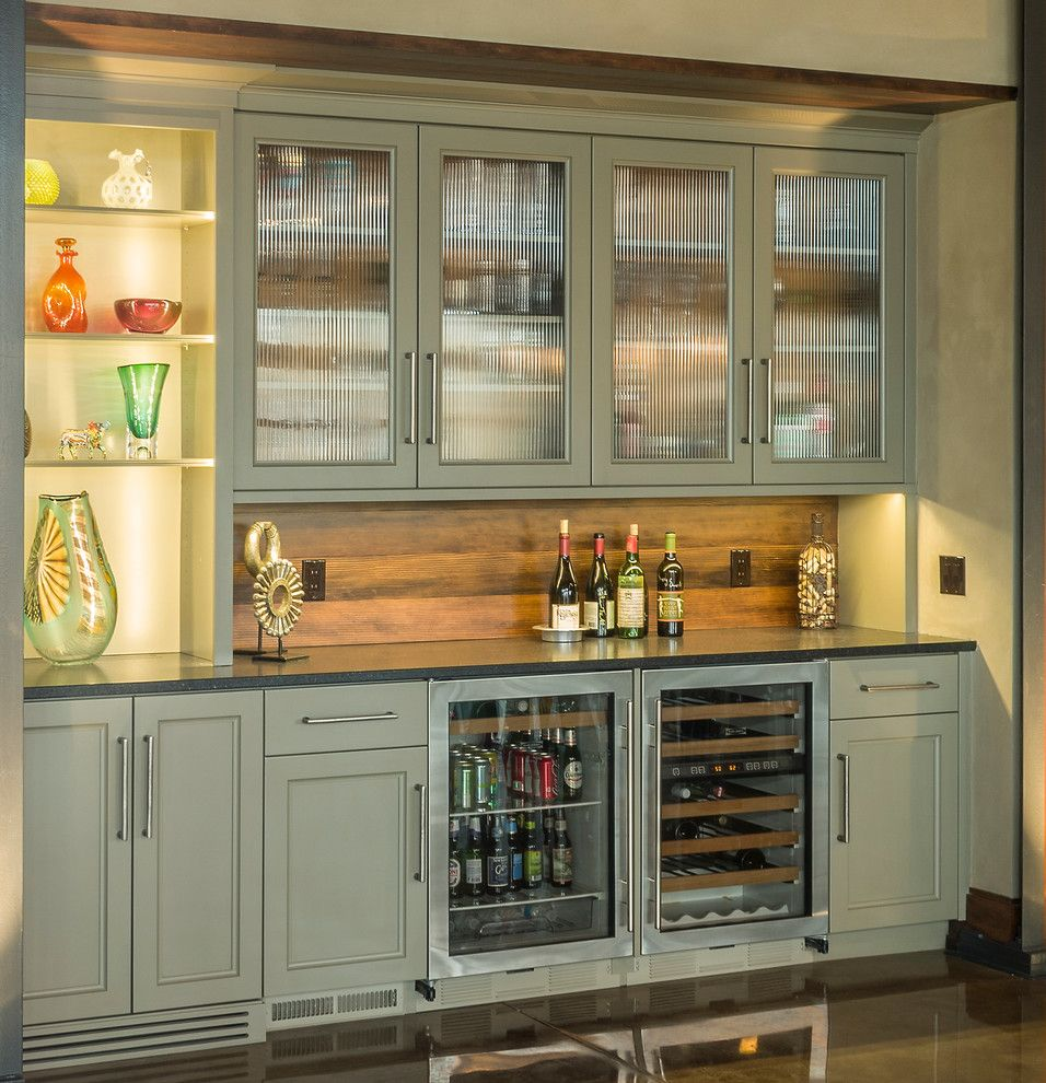 Material For Kitchen Cabinet: Wine Bar With Wood Backsplash, Olive Cabinets, Clear View