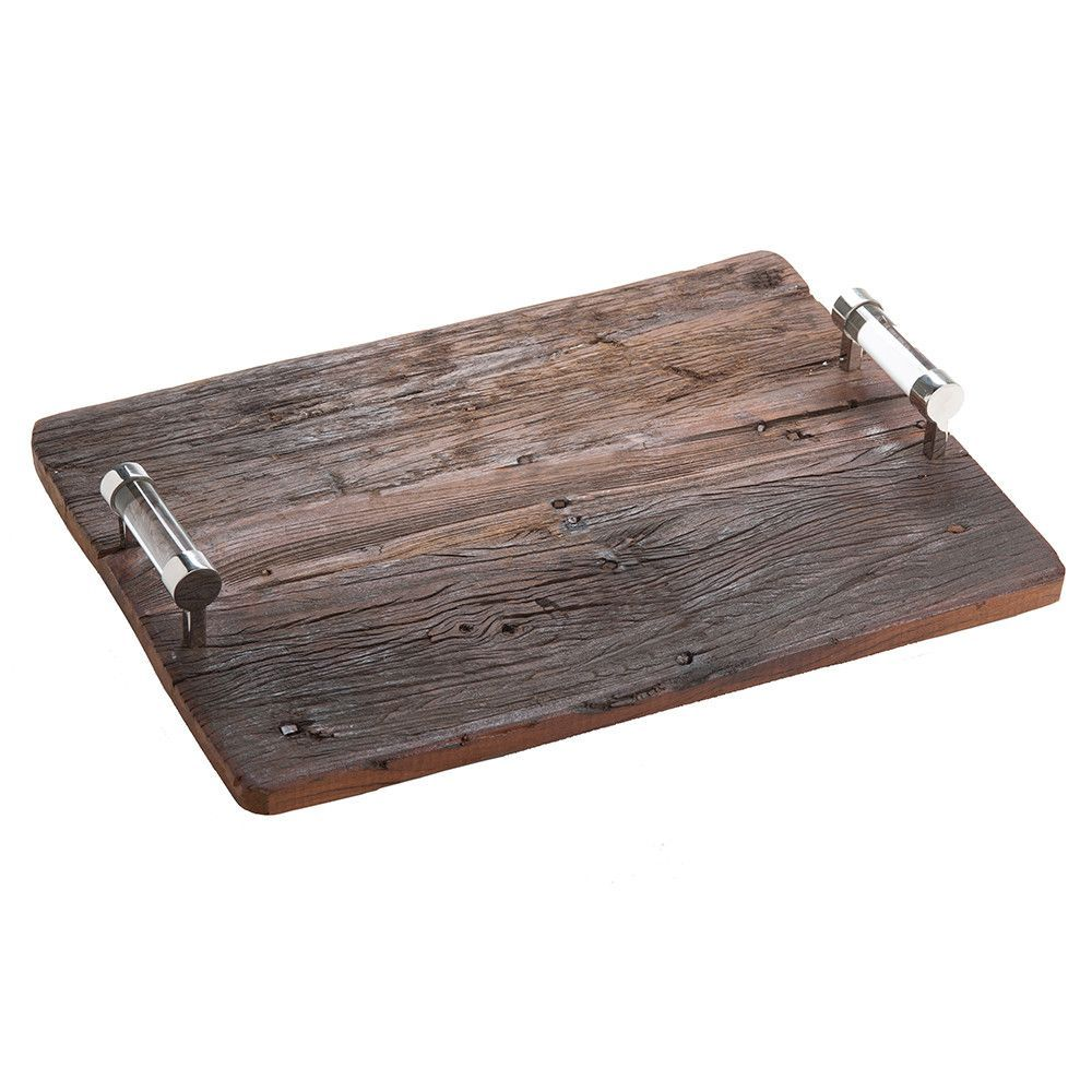 Reclaimed Wood Tray with Silver & Lucite Handles