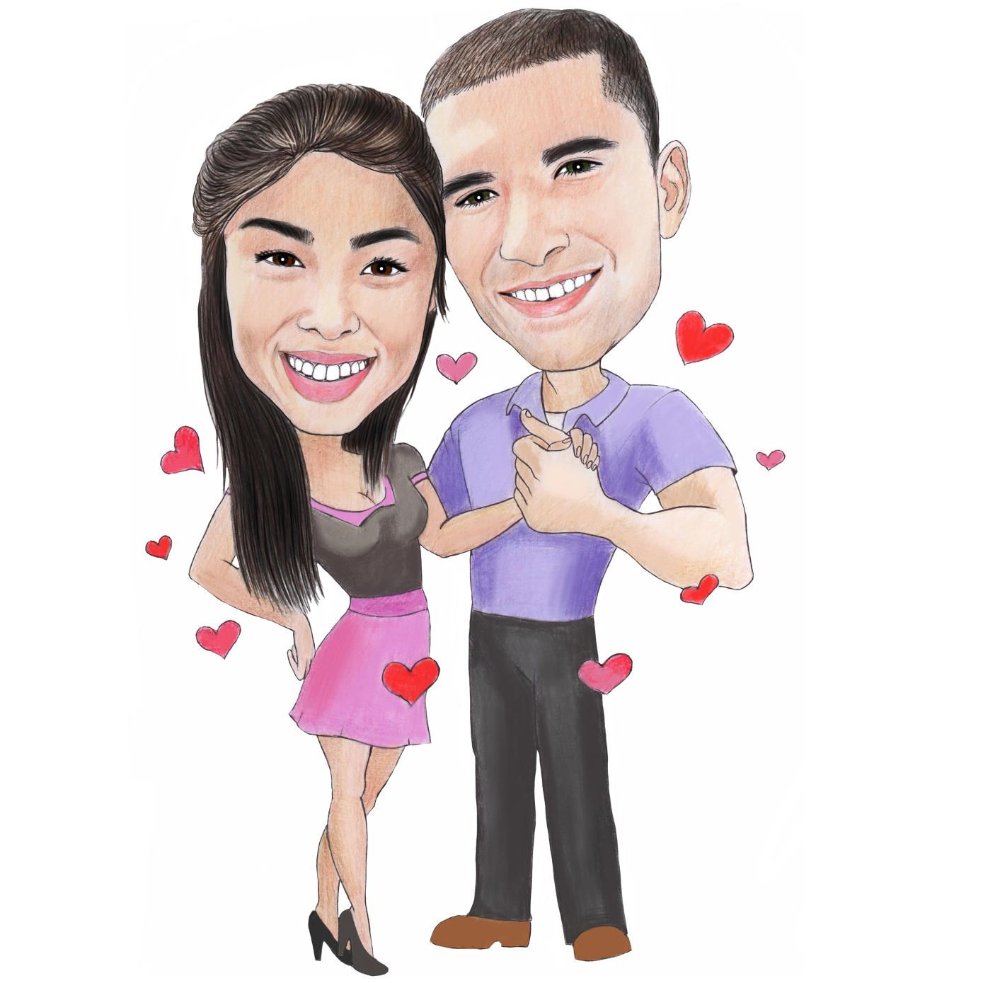 Romantic couple caricature full body drawing in colored pencils example