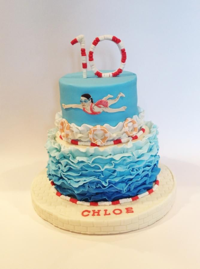Wedding cake with cupcakes designs for poolparty