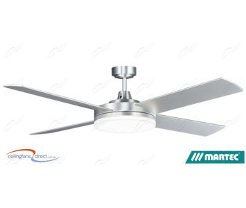 Brushed Aluminium Cool White Martec Razor 1300mm 52 Low Profile Ceiling Fan With Dimmable 28w Led Light Ceiling Fan Shop Ceiling Fans Led Shop Lights
