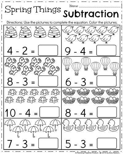 Spring Kindergarten Worksheets Planning Playtime Kindergarten Subtraction Worksheets Spring Worksheets Kindergarten April Kindergarten Worksheets Subtraction for kindergarten worksheets