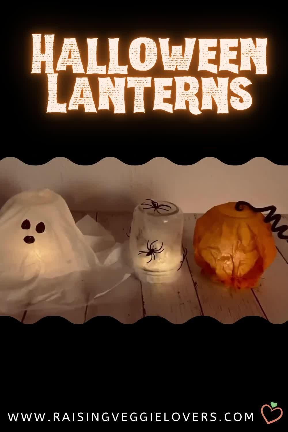 These Halloween lanterns are the perfect craft to do with your kids this Halloween. They are so quick and easy to make, and will leave your kids in awe! #halloween #halloweencraft #halloweenideas #kidcraft #fallcraft #easycraft #budgetcraft
