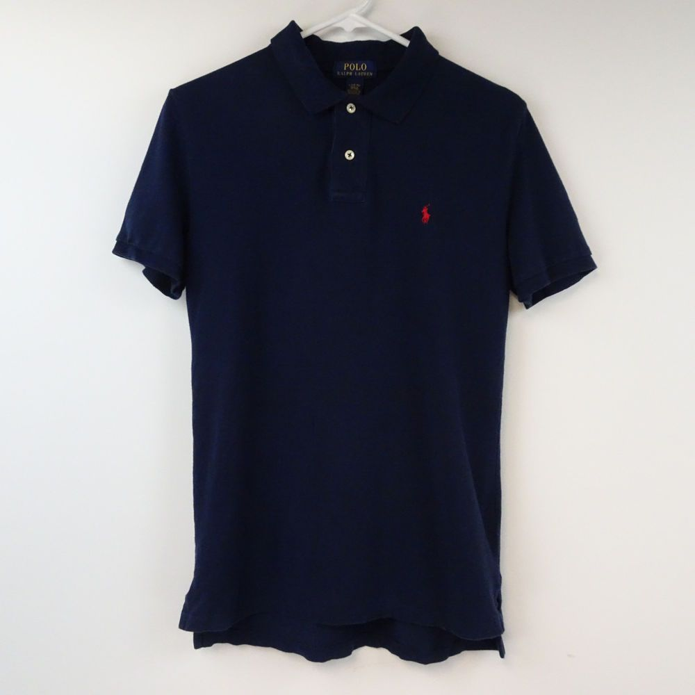 POLO RALPH LAUREN MEN'S Large NAVY BLUE With RED PONY COTTON Short Sleeve  M281 #PoloRalphLauren