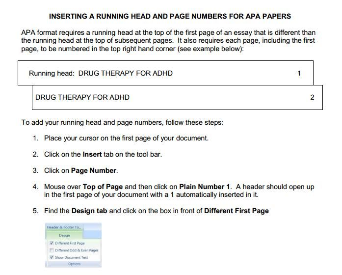 Apa How To Insert A Running Head And Page Numbers For Apa