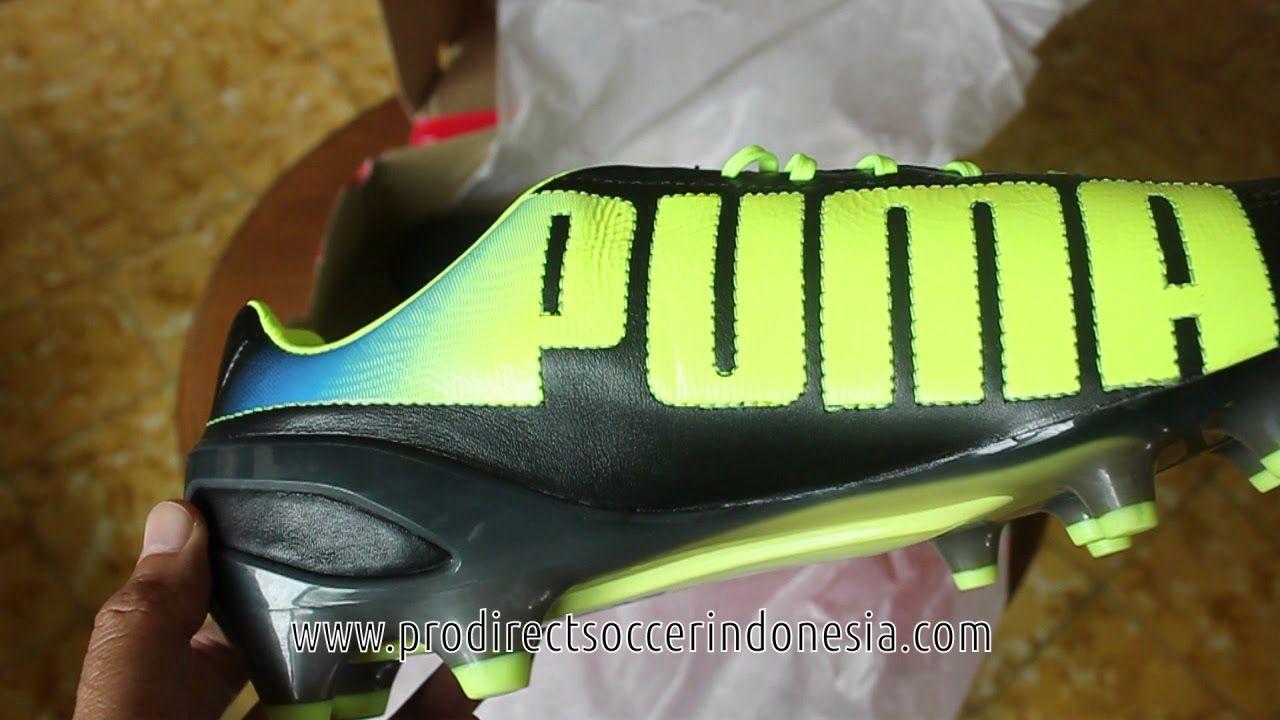 Sepatu Bola Puma Evospeed 1 2 Leather Fg Black Fluo Yelllow 102859