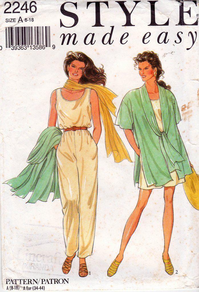90s Jacket & Jumpsuit Pattern Style 2246 Vintage Sewing Pattern 8 10 ...
