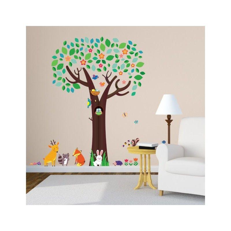 Muursticker Grote dierenboom - Muurstickers