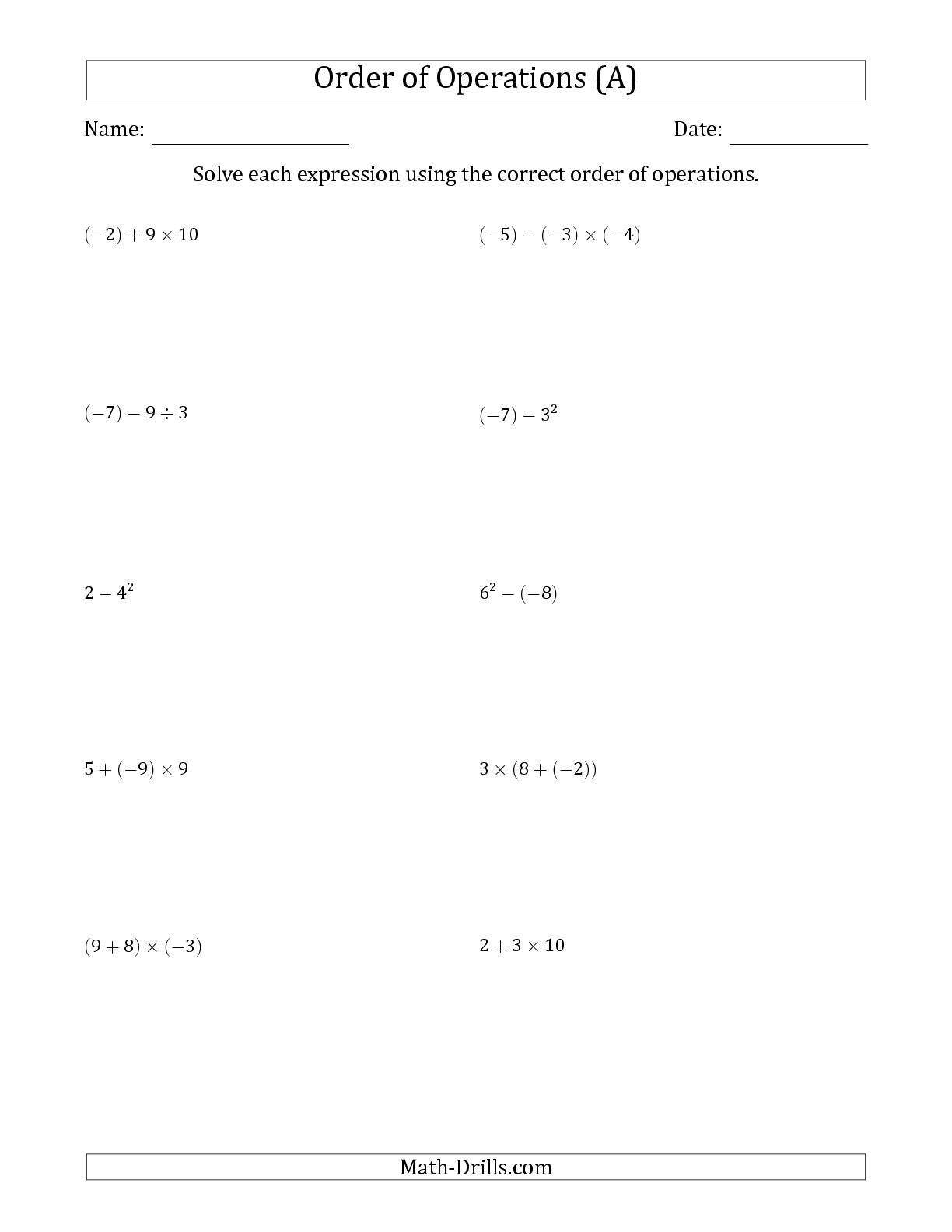 worksheet Distributive Property And Combining Like Terms Worksheets the order of operations with negative and positive integers two math tutor