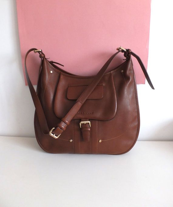 LONGCHAMP - large pouch in brown leather - large tote bag - French ...