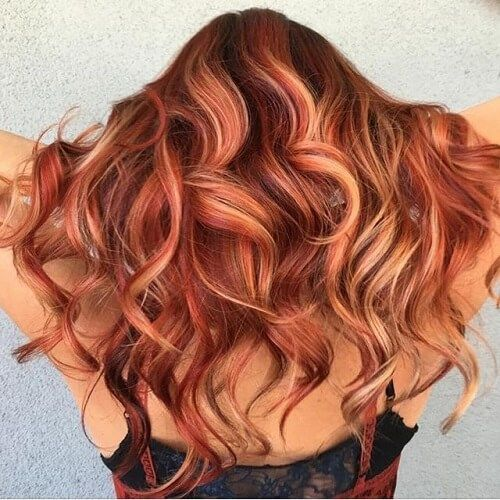 Curly Red Hair With Highlights Red Hair With Highlights Red Curly Hair Auburn Hair