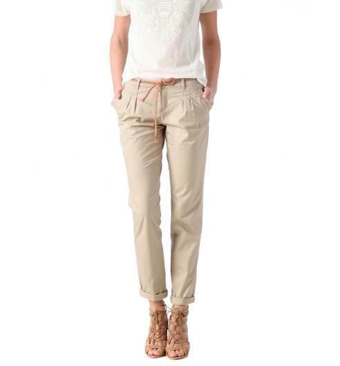 Pantalon chino en toile femme beige clair - Promod  7158a20ed4ae