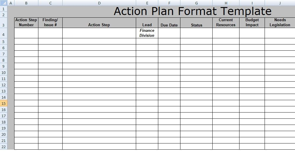 In large industries and corporate organizations, Action Plan Format