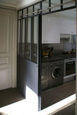 Verri re avec porte coulissante verriere pinterest verriere veranda et interieur - Verriere cuisine coulissante ...