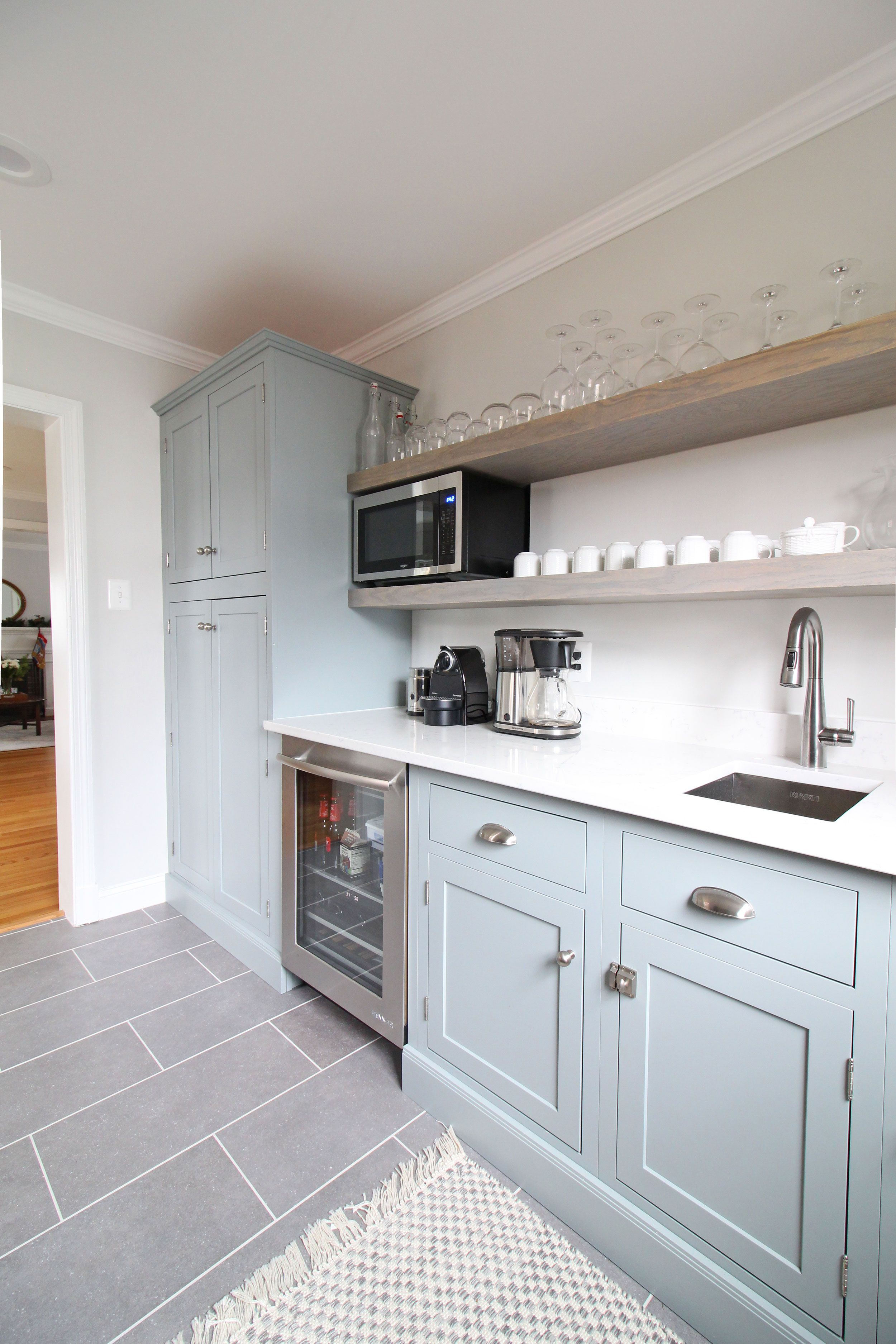 Light Blue Green Cabinets In This Transitional Farmhouse