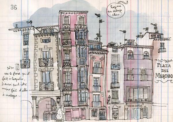 Logroño Water Sketch Travel Sketchbook Urban Sketching