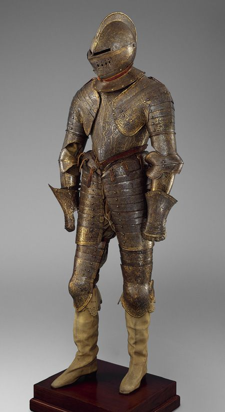 Armor for Heavy Cavalry, French, circa 1600    One of the best preserved French armors dating from the reign of Henry IV (1589–1610), this example demonstrates the French preference for completely gilt armors