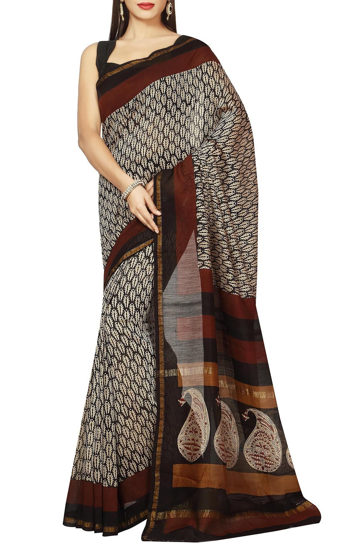 61fb204f40 Beige Black & Brown Dabu Batik Print Zari Border Chanderi Cotton Silk Saree
