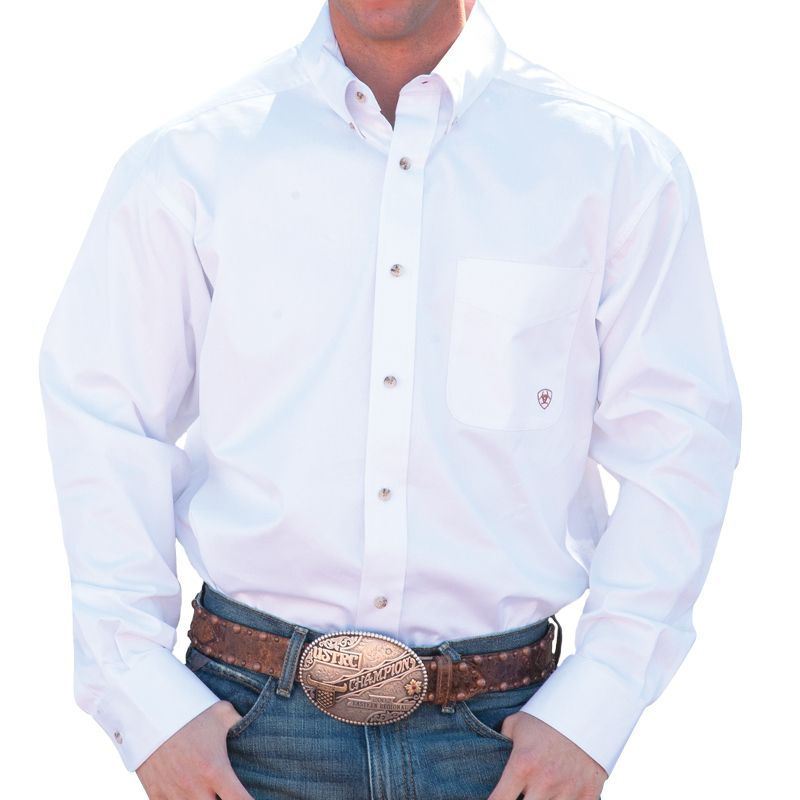 9c56c54d573821a Men's Ariat Solid Twill Buttondown White Shirt | Red, White & Blue ...