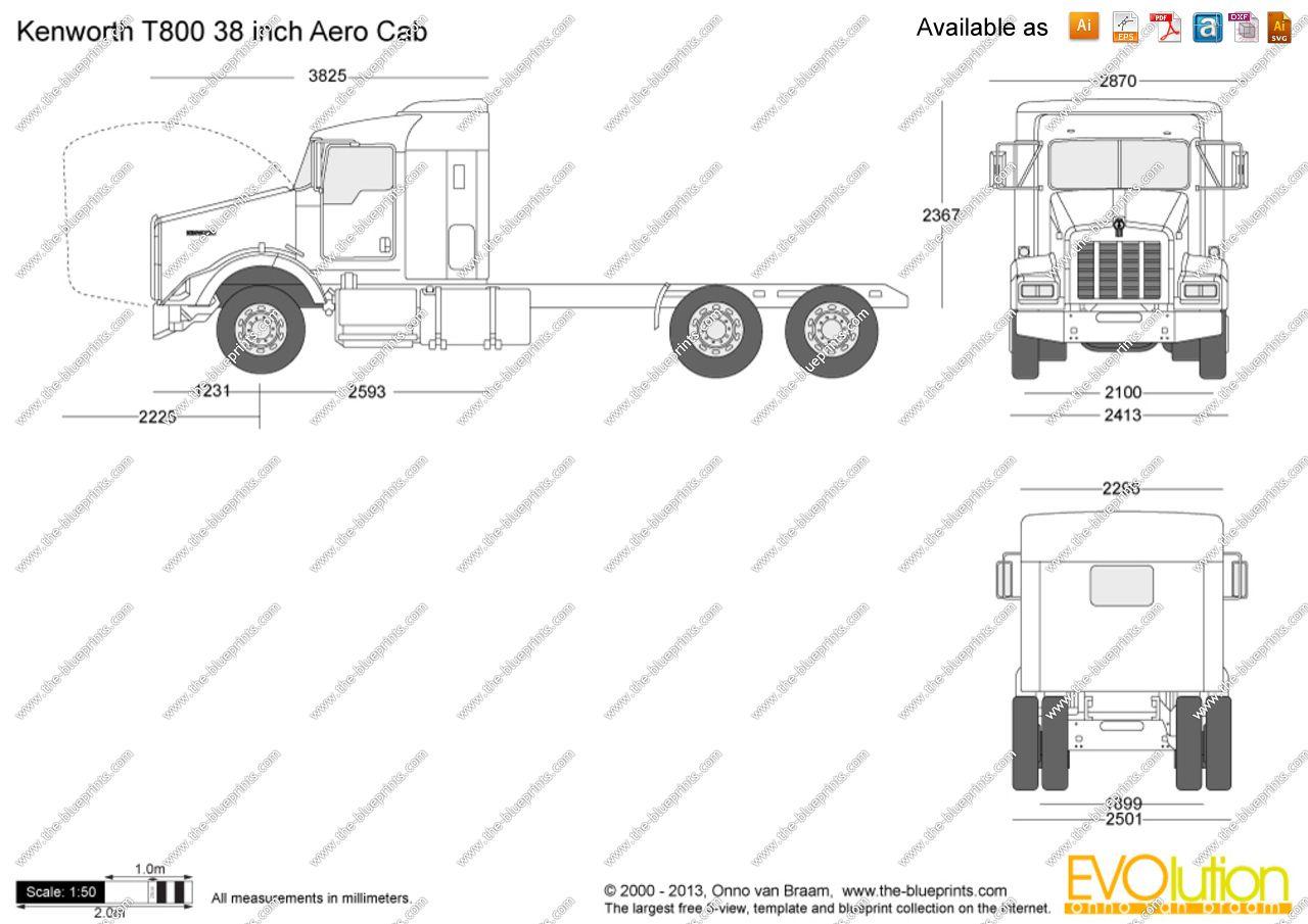 Kenworth T800 38 Inch Aero Cab Vector Drawing Kenworth Cab Aero