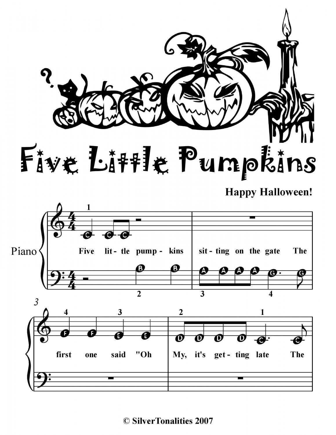 Five Little Pumpkins Beginner Piano Sheet Music Pdf With Images