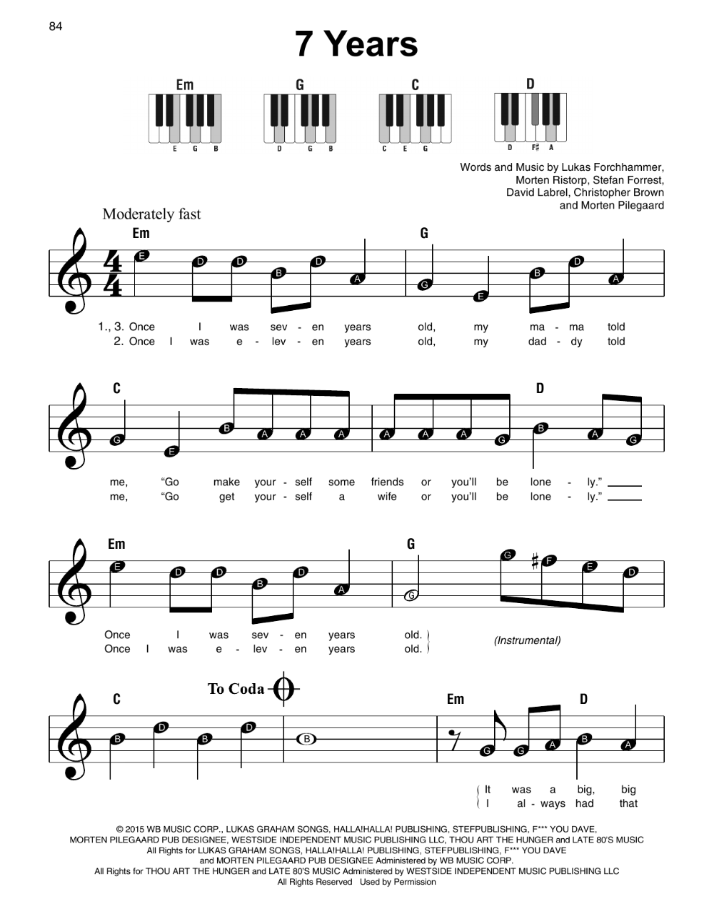 7 Years Sheet Music | Lukas Graham | Super Easy Piano