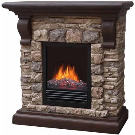 40 Polyfiber Electric Fireplace Tan Walmart Com Fireplace