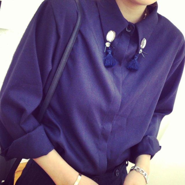 Women Blouse Top Collar Tassels