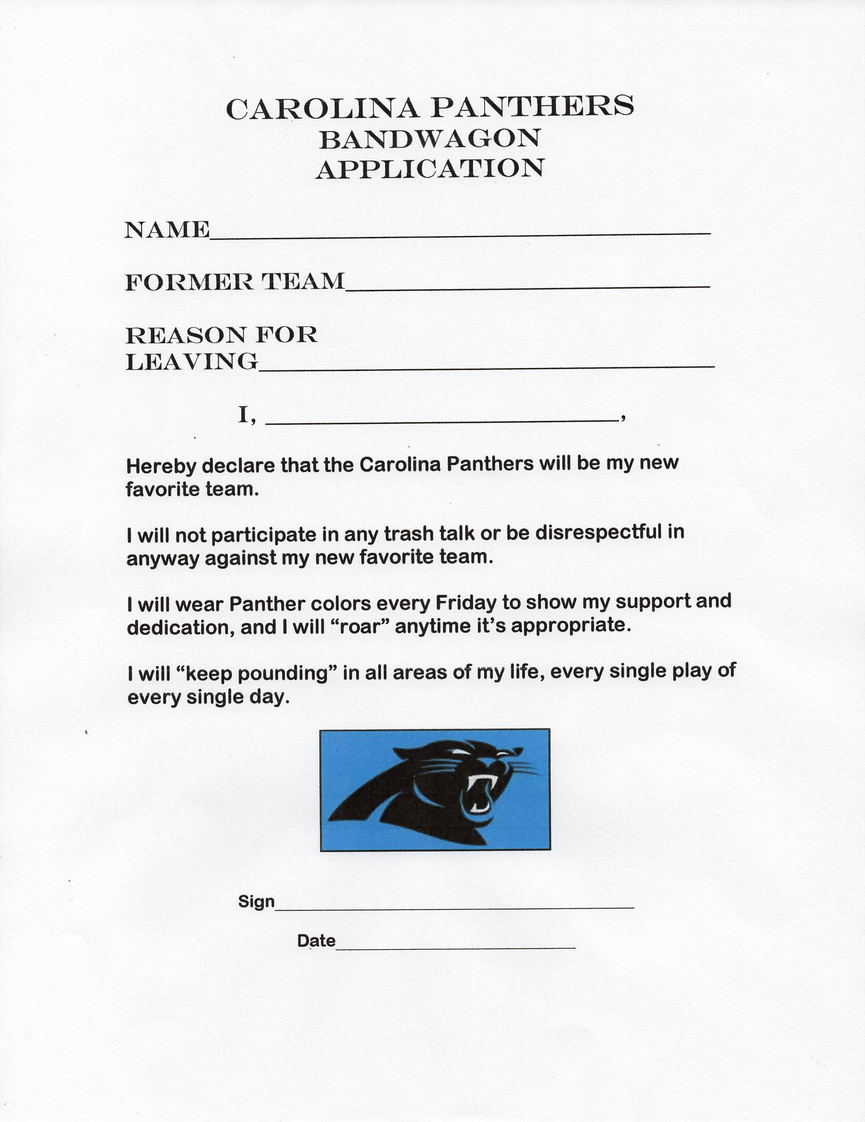 found today carolina panthers bandwagon application 1 28 2016 carolina panthers bandwagon application 1 28 2016 too cute