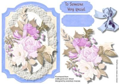 Lovely blue Bracket with Soft roses  on Craftsuprint designed by Ceredwyn Macrae - A lovely blue bracket to make and give to anyone with lovely soft roses has one greeting tag and a blank one , - Now available for download!