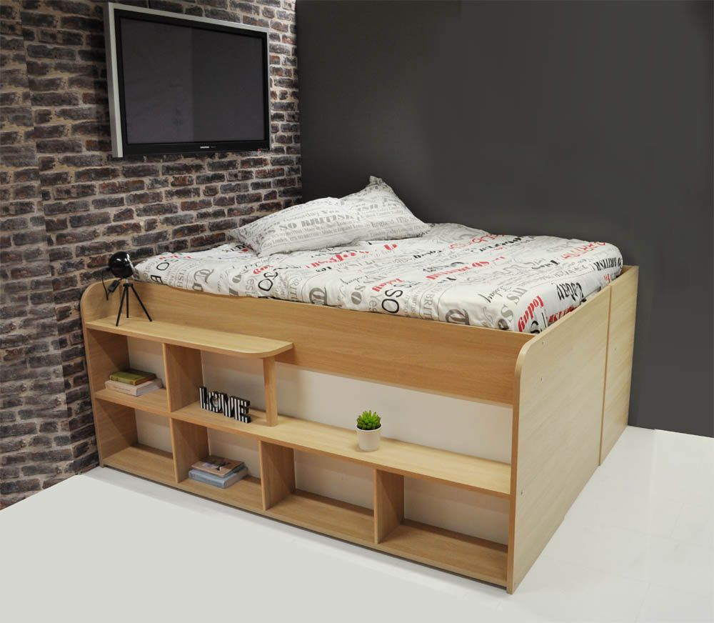 lit coffre compact avec rangements studio rangement. Black Bedroom Furniture Sets. Home Design Ideas