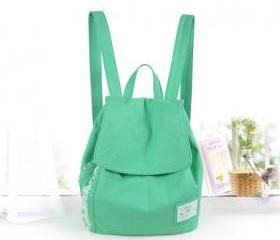Fashion Green Bow Lace Denim Canvas Backpack