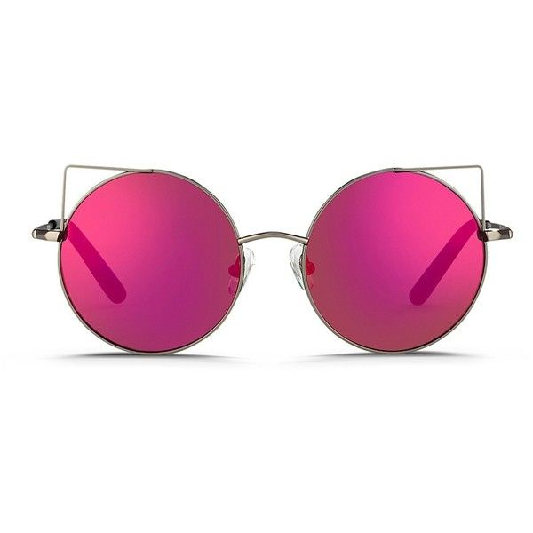 09899a40a Matthew Williamson Wire cat ear round mirror sunglasses found on Polyvore  featuring accessories, eyewear, sunglasses, glasses, pink, pink sunglasses,  ...