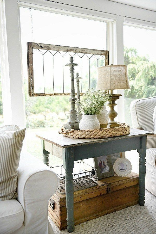 farmhouse cozy sunroom - cottage style farmhouse home decor. a