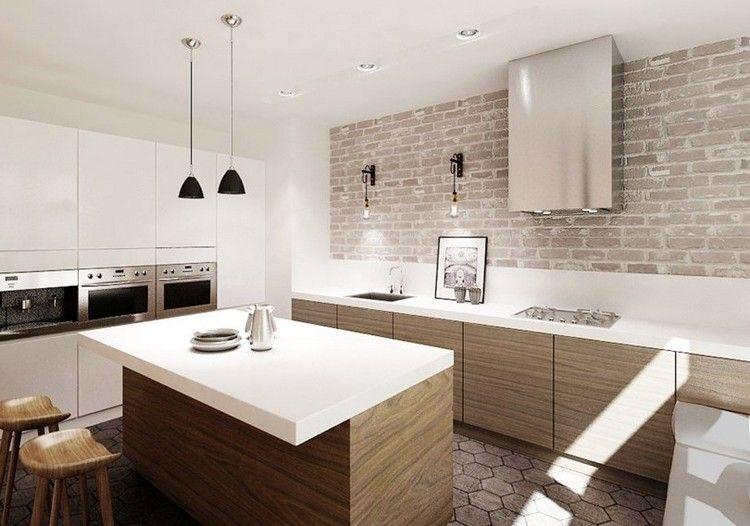 weiße Corian Arbeitsplatten Holz Schrankfronten und Backsteinwand - weiße küche welche arbeitsplatte