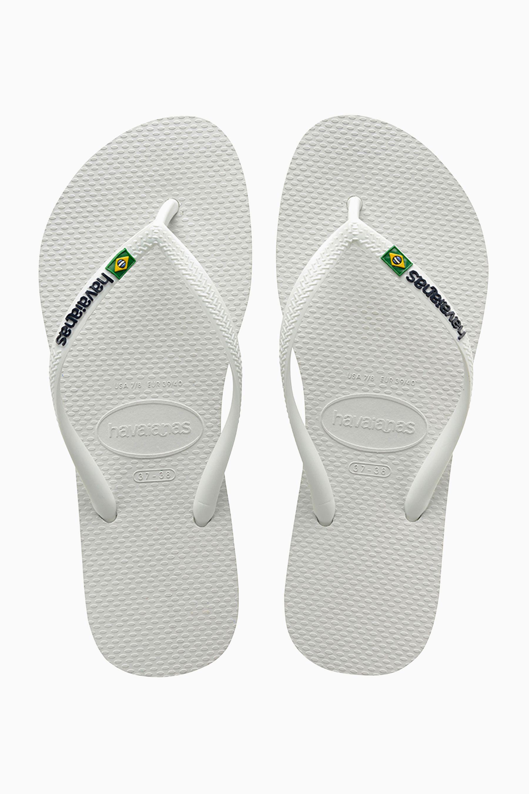 d8fbf198f11 Womens Havaianas White Slim Brasil Logo Flip Flop - White