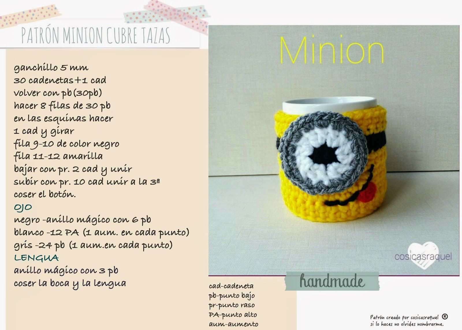 PATRÓN CUBRE TAZAS MINION DE CROCHET   Crochet   Pinterest ...