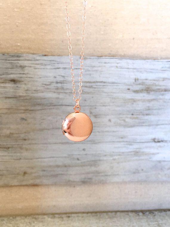 Small Round Locket Necklace Tiny Photo Locket with by Designbydd