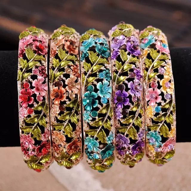 Online Shop Vintage Chinese Cloisonne Bracelets Jewelry Gold Plated Hollow Crystal Rhinestone Flower Enamel Bangle for Women | Aliexpress Mobile