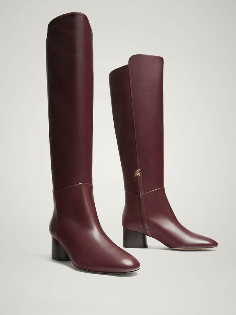 BURGUNDY NAPPA LEATHER BOOTS Women Massimo Dutti in 2019