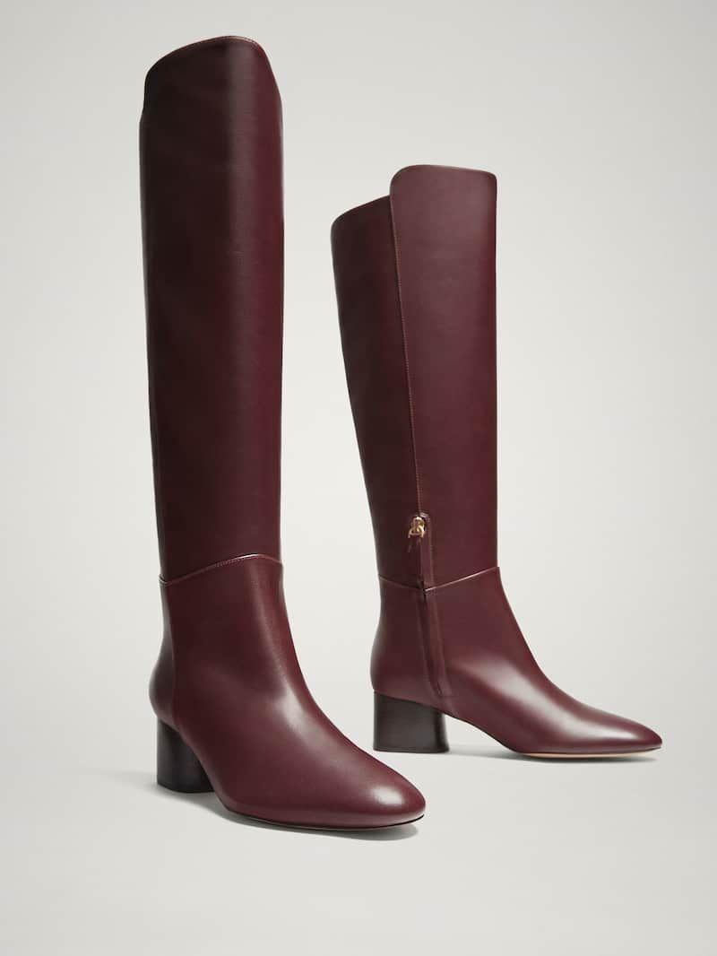 Nappa Burgundy Boots Leather Massimo Dutti In Women 2019 shtCQxrd