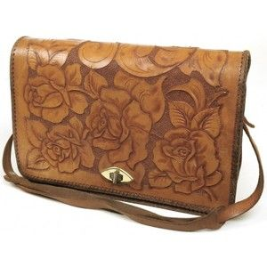Tan Tooled Leather Rose Handbag with Twist Clasp - Vintage ...