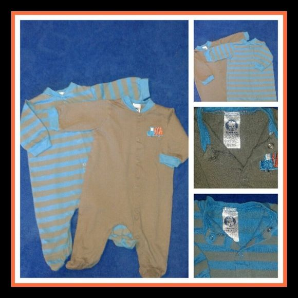 Baby boy button down cotton footie's Baby boy button down cotton footie very cute fitted one piece in good condition Gerber  Other