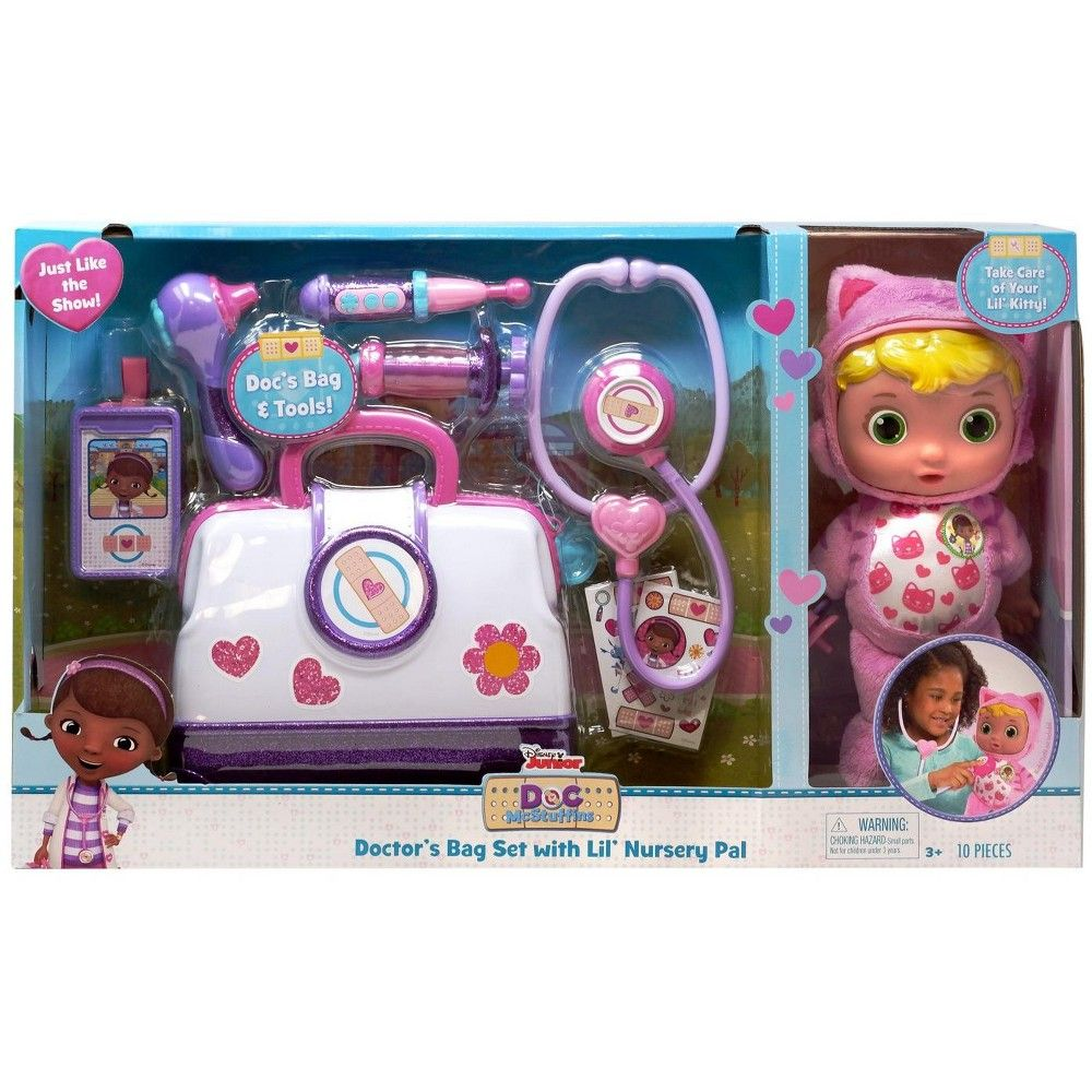 Disney Doc Mcstuffins Pet Rescue Doctor S Bag Set With Lil Nursery Pal Playset Lil Kitty Doc Mcstuffins Toys Baby Doctor Baby Disney