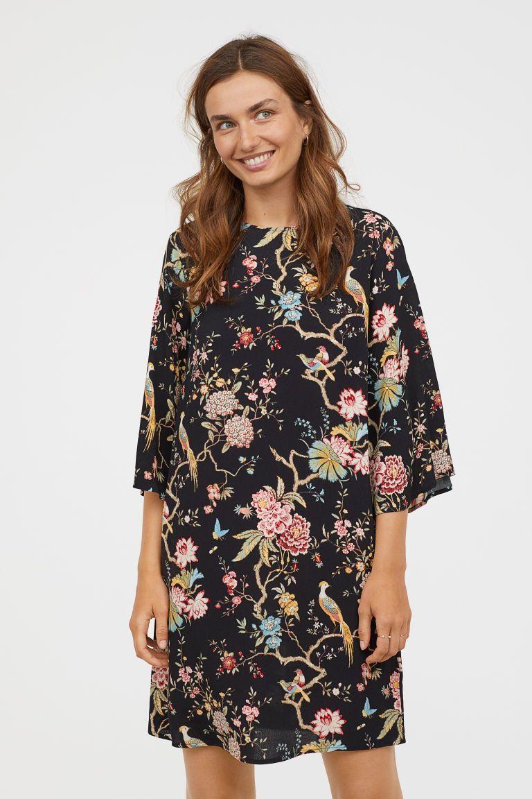 890ef07233 Wzorzysta sukienka - Czarny Kwiaty - ONA