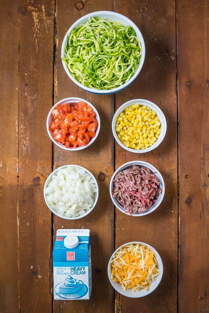 Cheesy Zucchini Casserole With Corn And Ground Beef Recipe Beef Recipes Ground Beef Vegetable Dishes