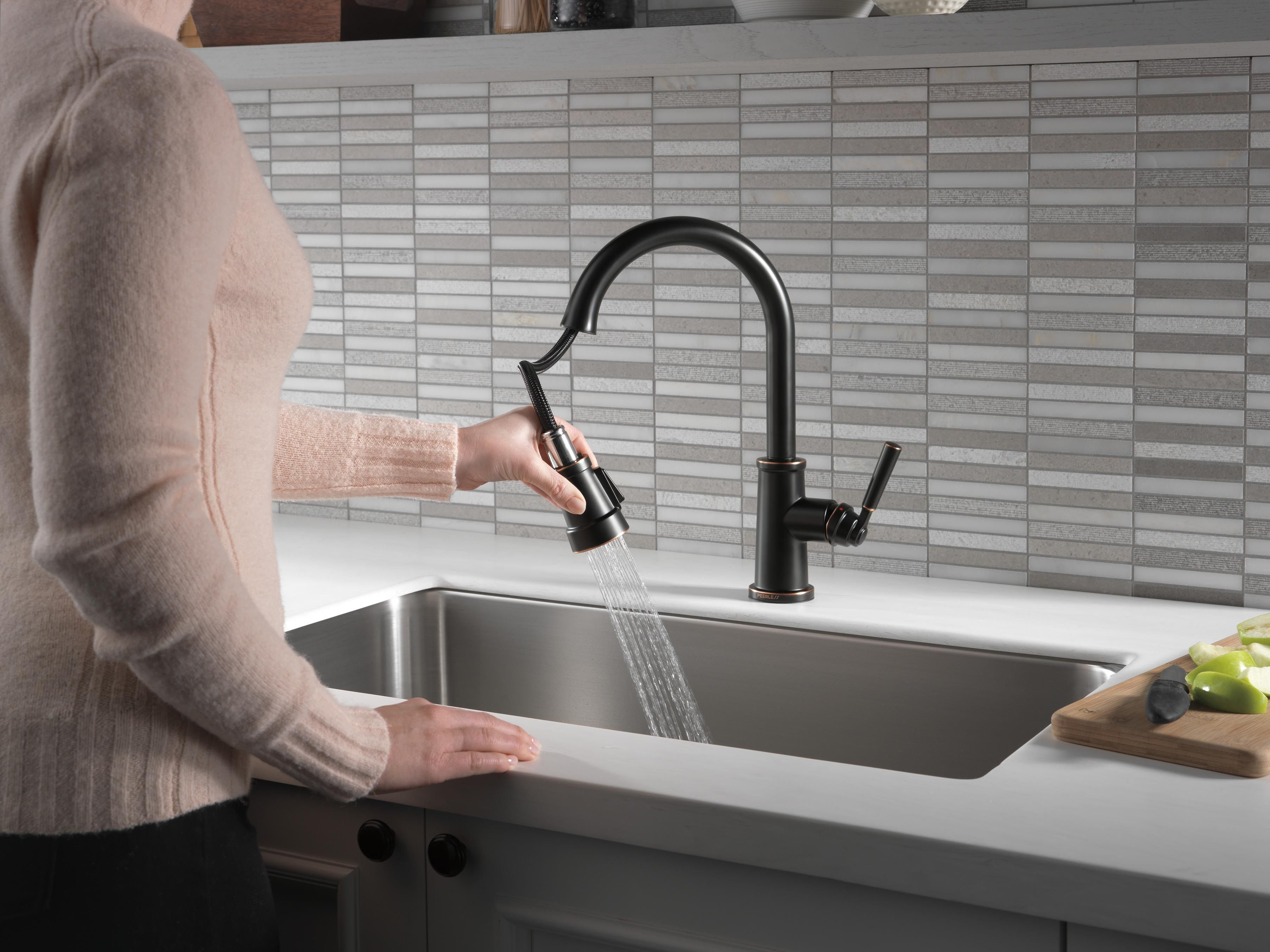 Peerless Faucet P7923lf Ob Single Handle Pull Down Kitchen Faucet