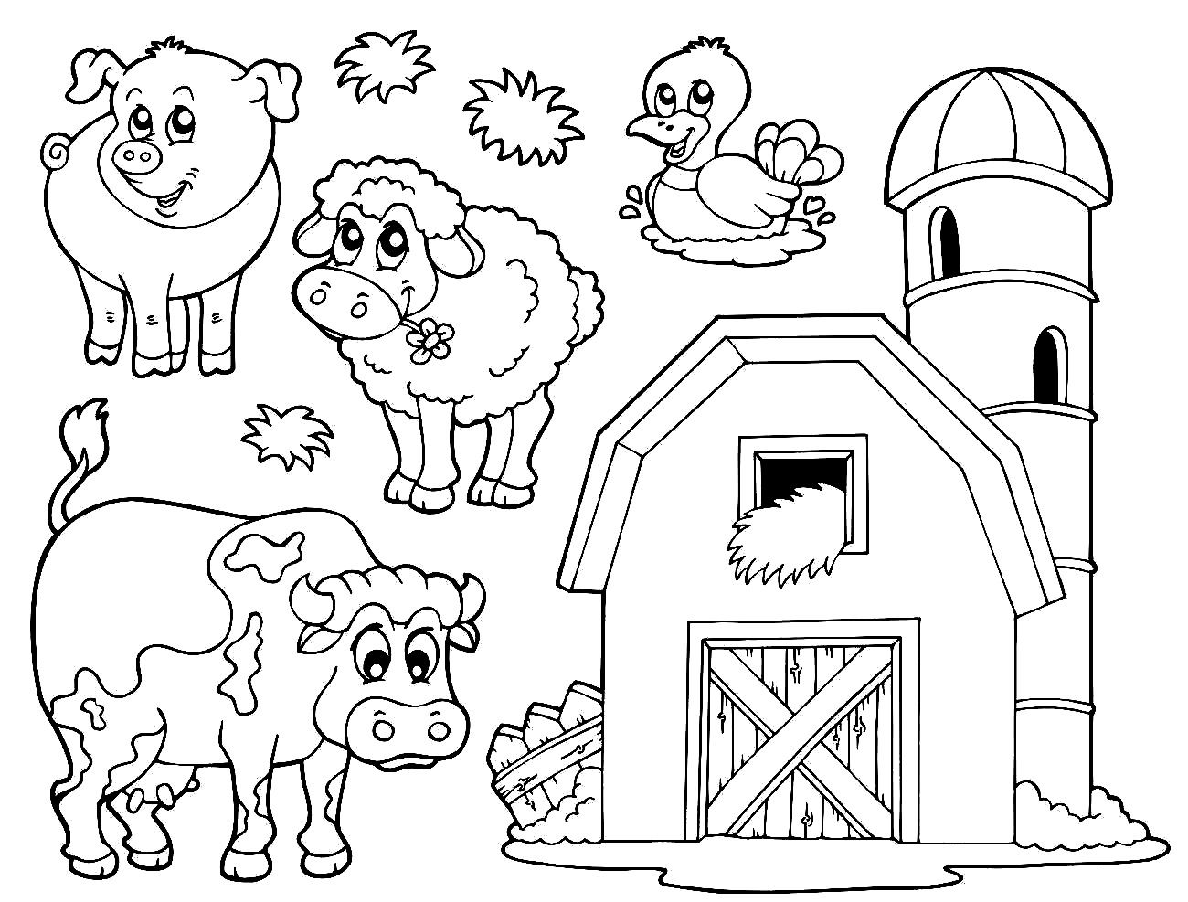 Farm Animal Coloring Pages Printable With Images Farm Coloring