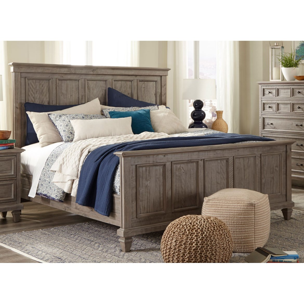 casual rustic gray king size bed  dovetail with images