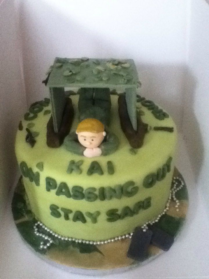 Army Passing Out Cake with soldier in tent army passingout